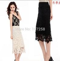 Black Lace Women  Floral Skirt office/party Evening bodycon pencil skirt Spring ang Summer saias femininas 6XL  Plus Size