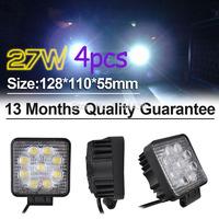 2015 time-limited top fashion  parking 4pcs/ lot 27w black spot led off road square work light lamp 12v suv atv car truck
