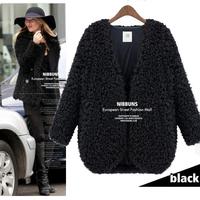 2015 Winter Fur Coat Women New V Neck  Autumn Winter Outwear Black  Plus Size Short Design Long Plush Jacket Femininas nz207