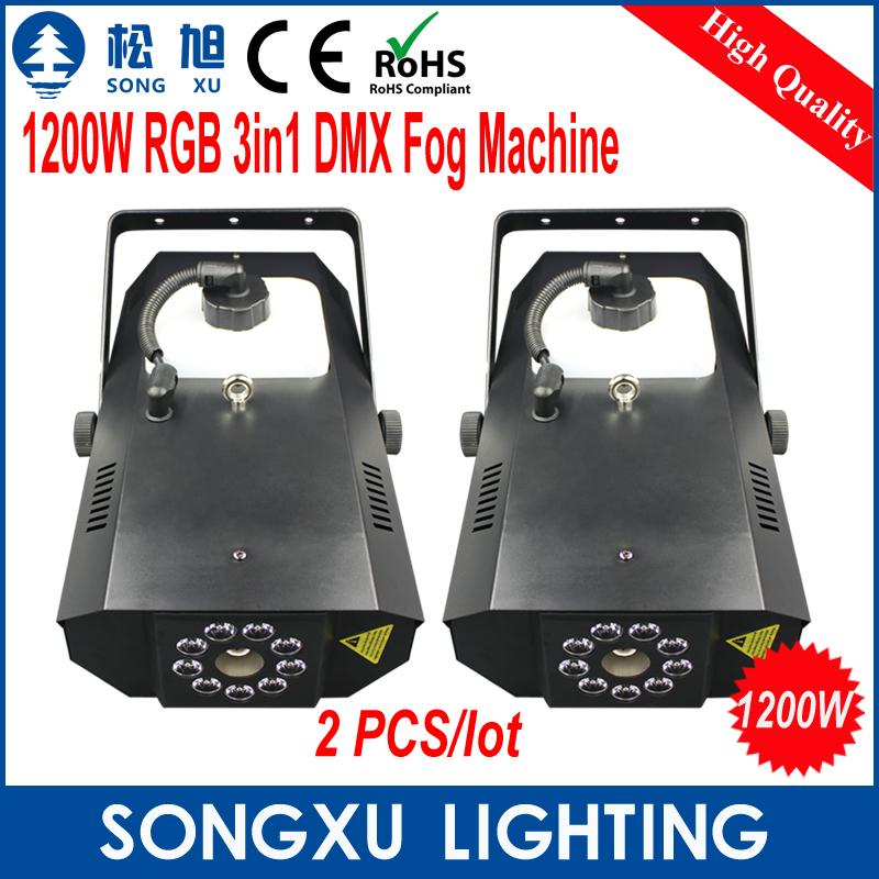 2pcs/lot 1200W RGB LED DMX Fog Machine Colorful Smoke Machine/SX-FM1200(China (Mainland))