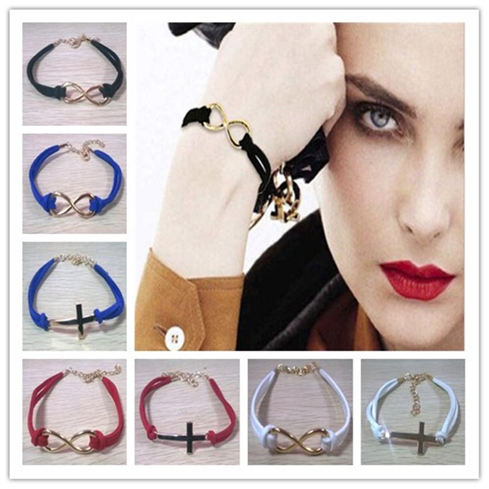 NEW 2015 1PC infinite faux suede leather bracelet cross friendship everlasting love