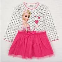 2015 spring and summer children's Frozen dot princess dress girls long sleeve ( cotton + mesh ) Dress