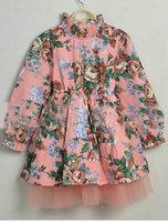 Spring 2015 New fashion Korean girls printing gauze dress long sleeve