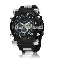 Famous brand Ohsen fashion army mens wristwatch quartz digital hand watches 30M waterproof LED display blue popular clock