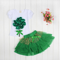 New 4set Children girl's 2015 Summer girl set  Flower Short sleeve t-shirt +TUTU Short skirt 2-piece/set LZ-T0102