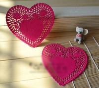 6 inch (15cm) Heart Rose color paper doilies Paper lace doilies placemat Cake bakery package Wedding tableware decorations