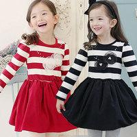 Free shipping -5pieces/lot -2015 spring models girls cotton flowers striped dress - princess tutu dress