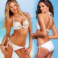 New Style Elastic Women White Sexy Drilling Bikini Set Swimwear Swimming Suit Swimsuit S/M/L Drop Shipping