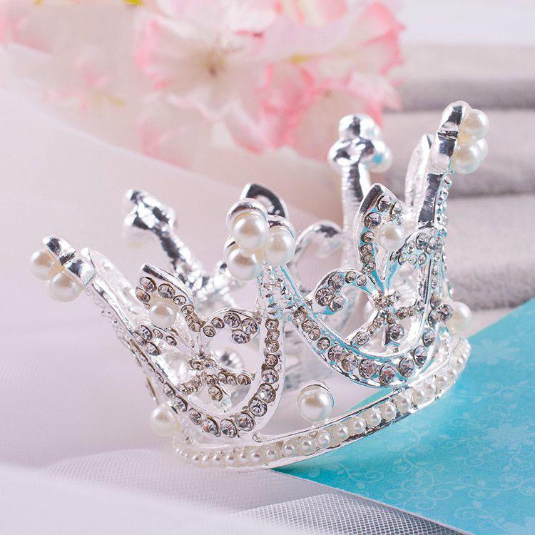 Cute Mini Circle Round Pearl Hair Crown ,Kids Bridal Princess Designs Wedding Hair Crown Tiaras(China (Mainland))