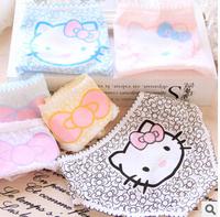 (6 Pcs/Lot) Many Colors Option Kawaii Full Bowknot Hello Kitty Cotton Lady Women Underwear