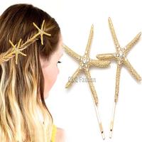 Pack of 2 Bridal Gold Big Starfish Sea Star Beach Fish Crystal Hair Pin Clip Cuff Head Dress Jewelry  Free Shipping
