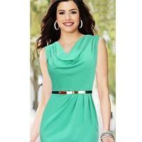 S-XXL 2015 New Desigual Vestidos Sleeveless Knee-Length Summer Dresses Sexy Pencil Bodycon Dresses Plus Size Green color
