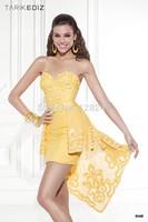 Tarik Ediz amazing design Sexy open back detachable train shiny gold applique two piece prom dresses 2015 for winter RT-613