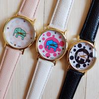 Women Dress Watch Geneva Men Wristwatch Elephant Dots Sports Women Quartz Watch Transparent Wristwatches Male