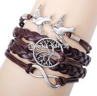 2015 Fashion Jewelry Multi-layer Braided Leather Bracelet Cord Peace Dove Life Tree Charm Bracelet Free Shipping