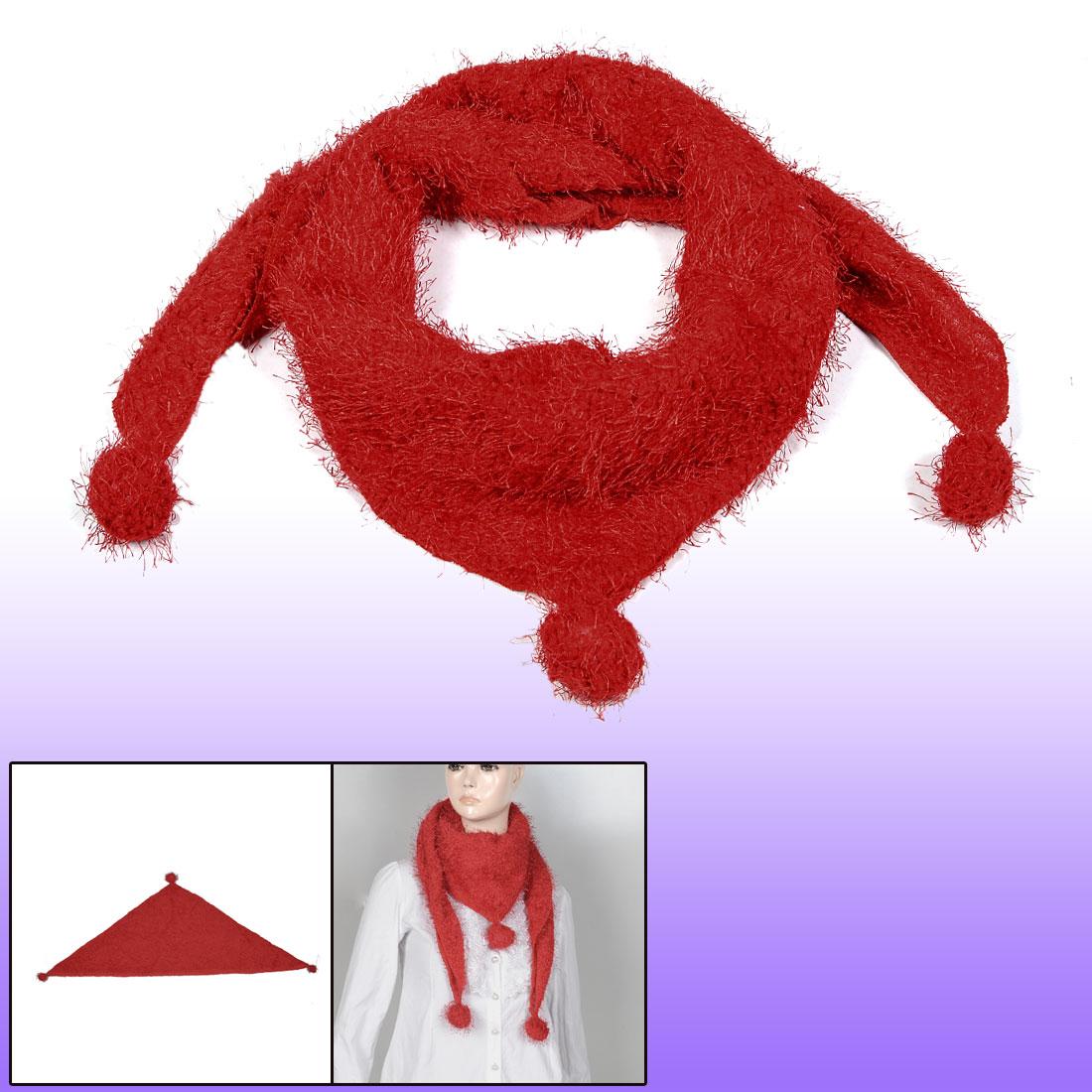 Red Fluffy Balls Detail Neck Ornament Warm Triangular Scarf for Ladies Women(China (Mainland))