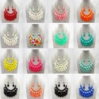 Fashion Multilayer Briolette Teardrop Bead Bubble Bib Statement Necklace & earrings set