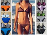 Summer Women Tops Fashion 2014 Sexy Fashion Beachwear For Ladies  Sexy  Neoprene bikini Net triangle Swimsuits Swimwear Bikini