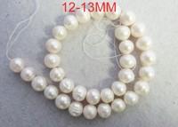 "Free shipping 12-13 mm 3 PCS white Freshwater pearl powder bead 15"""