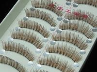 2015 New 10 Pairs Brown Color False Eyelashes Handmade Japan Natural Artificial Fake Lashes Maquiagem Professional Makeup Tools