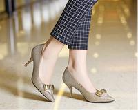the latest design elegant genuine leather high heel shoes