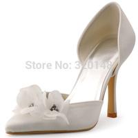 2015 New Style Free Shipping HC1417 Ivory Pointed Toe Flowers Rhinestones StIetto Heel Wedding Bridal Shoes