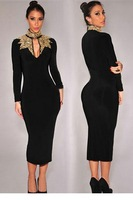 New 2015 Spring Black Gold Sequins Mock Neck novelty  Design Midi Dress Long Sleeve women Winter celebrity dresses LC6908