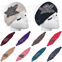 Women's Knitted Headband Crochet Headwrap Metal Jewel Winter Warm handmade headbands