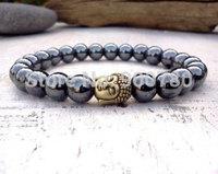 Free Shipping 2015 Spring Gold Handcrafted Hematite and Buddha Head Stretch Hematite Buddha Bracelet 8mm Round Beads Bracelet