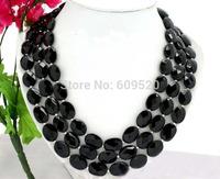 "3row 20"" nature thallus black agate necklace jade"