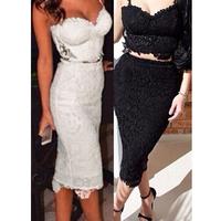 2015 Fashion New Womens Flower Lace Two Pieces Clubwear Sleeveless Deep V-Neck Sexy Black White Knee Length Slim Bodycon Dress