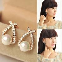 New Style Women Ladies Elegant Crystal Rhinestone Studs Earrings Ear Stud V3NF