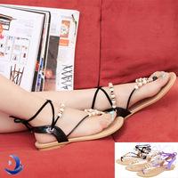 Factory sales Bohemia Sandals Female Beaded Flower FLat Flip-flop flats Women's Shoes fashion ladies summer wedges