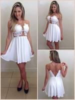 2015 New Fashion Novelty Women's Fashion Chiffon And Lace Patchwork Dress White Sexy Dress Free Shipping