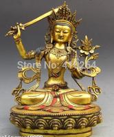 [wholesale_jewelry_wig ] free shipping Tibet Buddhism Fane Bronze Gild Manjusri Bodhisattva Kwan-Yin buddha Statue