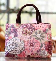 Small cloth handbags double handle tote bag handbag cotton canvas prints bag quinquagenarian boxes package waterproof flower