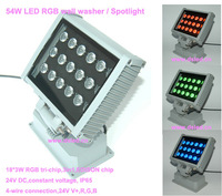 Waterproof,high quality 54W outdoor LED RGB spotlight,DMX compitable,24V DC,4-wire connection,EDISON chip,DS-T20A-54W-RGB