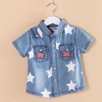 CS40 casual dress new 2015 denim boys shirts  2-5 age short sleeve boys clothing free shipping 4pcs/ lot
