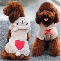 Soft Fleece Winter Costume Jumpsuit Dog Coat Hoodie Warm Bear Pet Teddy Clothes Free Shipping