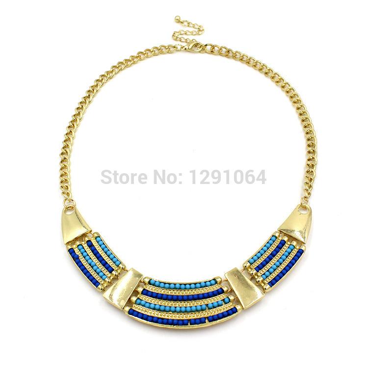 Free Shipping 2015 New Women Fashion Rice Beads Statement Necklace Chain Chokers Jewelry Zinc Alloy Wholesaler Store Retailer(China (Mainland))
