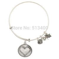 Vnistar 10pcs/lot America hot antique silver heart charm Alex and ani bangles & bracelets for women VAB116