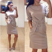 Hot Sale Women Dress 2015 Brand New Winter Fashion O-neck Women's Dress Plus Size Color Blue Ladies Casual Dresses LL1575