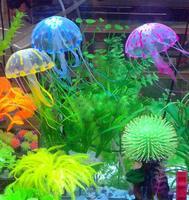 Artificial Glowing Jellyfish For Aquarium Fish Jar Box Ornament Swim Decoration Free Shipping