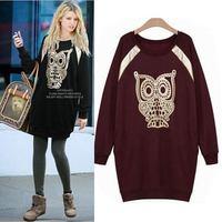 2015 Fall 3D Sport Suit Bronzing Owl Printed Sweatshirt Tracksuit For Women Hoody High Street Casual Hoodies Pullover Sudaderas