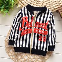 4pcs Children boy's 2015 Spring children boy 100% cotton long-sleeve cardigan Stripe cardigan jacket DQKE8208