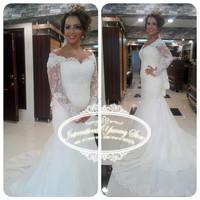Vestidos de Noiva 2015 Elegant Mermaid Tulle Wedding Dress Bridal Gown with Lace Appliques Long Sleeves