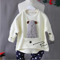 Children's Clothing Wholesale 2015 Spring autumn New Cute alpaca Three-dimensional decorative Cotton long-sleeved Sweatshirts