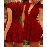 2015 Women Red Sexy Deep V-neck Short Sleeve Slim Bodycon Mini Clubwear Party Cocktail Flower Lace Patchwork Dress Vestido