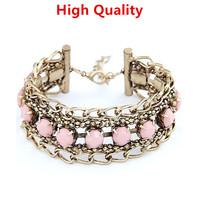 Lowest Price Women Alloy Charm Bracelet Handmade Multi Layer Colorful Resin Pulseiras Femininas