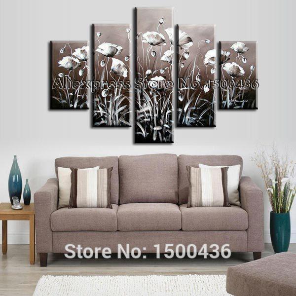 Pintados à mão pintura a óleo da lona da flor da papoila branca conjunto abstrato 5 peça de decoração para moderna imagem arte(China (Mainland))